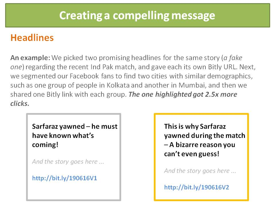 Content messaging for Growth Hacking play